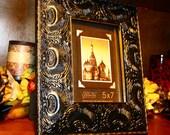Swarovski Crystal Embellished Black with Gold Highlights Picture Frame