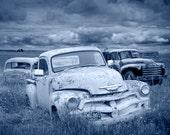 Auto, Pickup, Vintage, Junk - a Blue Toned Photograph