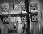 Door Latch on a Wooden Door, Artistic Black & White Photo Composition