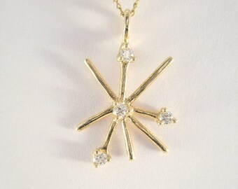 14 Karat Gold Diamond Spray Pendant
