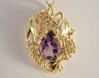 14k Gold Amethyst pendant with grapes, grape leaves and vines