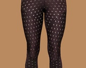Brown floral/clubs eyelit patterned handcrafted leggings - Original Design, made to flatter and fit.
