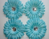 Turquoise Daisy 4 Inch Flower Heads - Set of 4