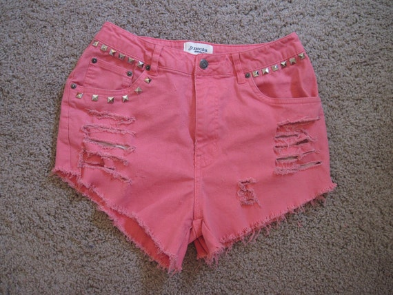AWSOME  upcycled  denim cut off shorts size 10 waist 31 inche frayed ripped High Waisted  with studs