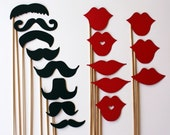 Mustache and Lips On a Stick - 16 Piece Set - Photo Booth Props