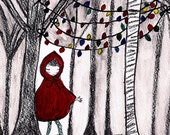Girl in the Woods 8.5 X 11 charcoal print-charcoal, watercolor, girl, ethereal, woods, trees, art print, colorful, nature