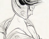 "Contemporary style Fashion Drawing Art Giclee Print, Charcoal, Pencil--Kimono, 6"" x 8"""