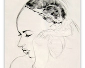 """Charcoal Pencil Drawing, Art Archival Giclee Print - June, 8""""X10"""""""