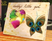 Wood picture frame wooden newborn birthday gift father's day heart shaped butterfly photo peacock