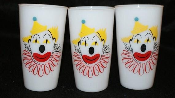 Clown decor 1950s milk glass tumblers