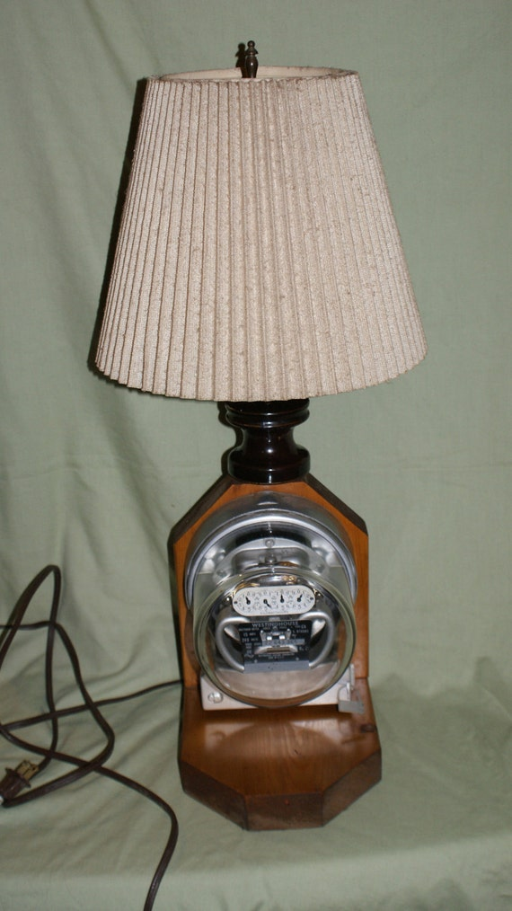 Westinghouse Electric Meter Table Lamp On Wood Base W  Shade