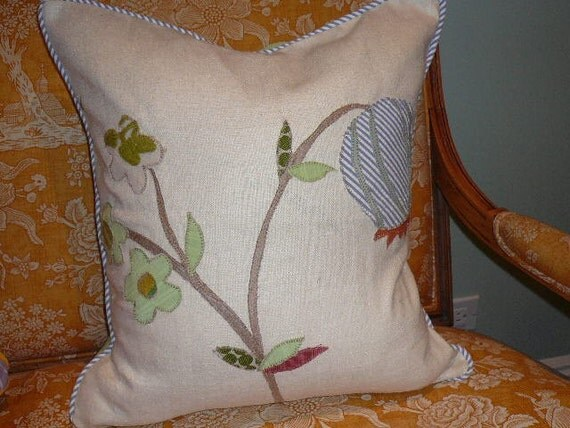 Applique Floral Pillow, multi color with green silk back (right)
