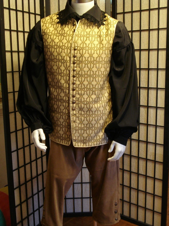 PIRATE WAISTCOAT vest long front short back sz M. Light gold with celtic pattern. Renaissance costume
