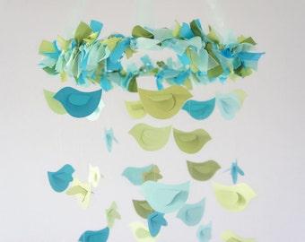 Bird Nursery Mobile- Blue & Green Birds- Baby Mobile, Nursery Decor, Baby Shower Gift