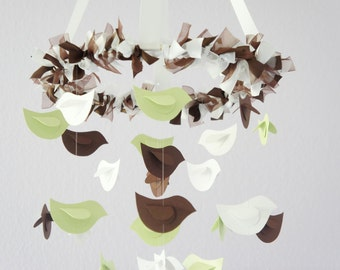 Bird Nursery Mobile- Bird Mobile in Green, Chocolate, and White; Baby Boy Girl Nursery Mobile Room Decor
