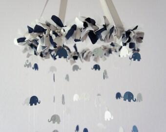 Elephant Mobile in Navy, Gray, & White- Nursery Mobile Decor, Baby Shower Gift