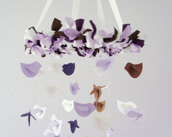 Lavender Nursery Mobile- Lavender Purple Brown White Bird Nursery Mobile Decor; Baby Girl Nursery Room Decor
