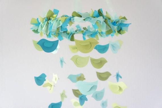 Bird Nursery Mobile- Blue & Green Birds- Baby Mobile, Nursery Decor, Baby Shower Gift