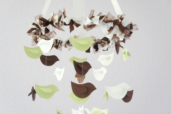 Bird Nursery Mobile- Bird Mobile in Green, Chocolate, and White; Baby Boy Girl Nursery Mobile Room Decor