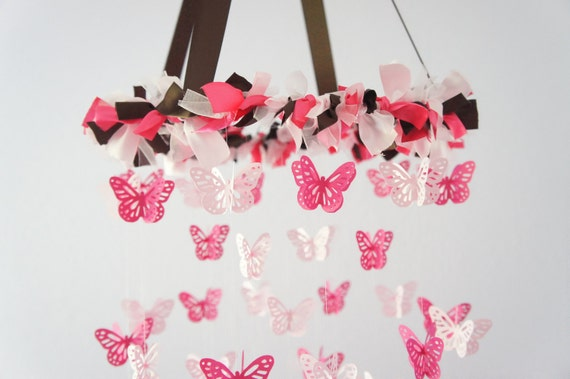 Pink Brown Nursery Butterfly Mobile for Baby Girl Nursery Mobile Room Decor, Baby Shower Gift Decoration Idea