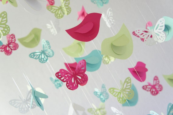 Butterflies & Birds Nursery Mobile, Baby Shower Gift; Baby Girl Nursery Mobile Decor; Baby Room Decor