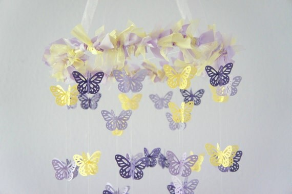 Purple, Lavender, Yellow Butterfly Mobile- Nursery Decor, Photography Prop,  Baby Shower Gift