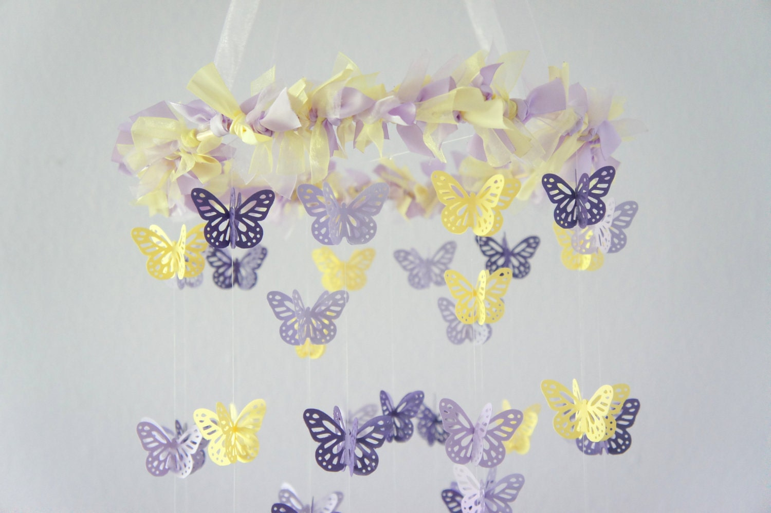 purple lavender yellow butterfly mobile nursery decor. Black Bedroom Furniture Sets. Home Design Ideas