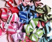"""FUN Striped Bows / 1.00 Bows/ 3"""" Hair Bows/  Set Of 10 Hair Bows/ Wholesale Hair BowsStripe Bows"""