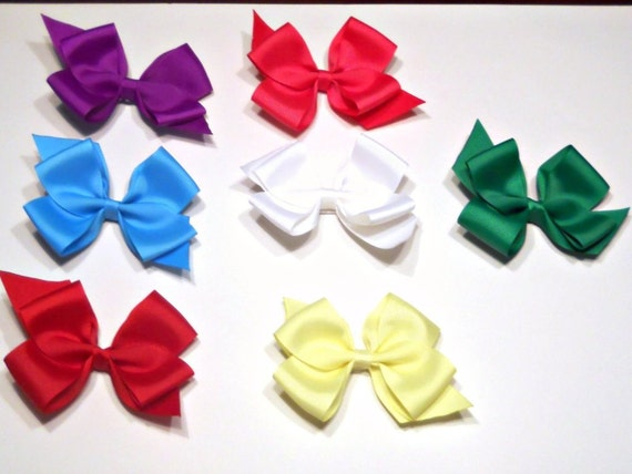 Large 4 Inch Bows/ 1.00 Hair Bows/ Set of 5/ Wholesale Bows
