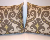 "Pair Of 24""x 24"" Graphite/Yellow Ikat Cotton Pillows Including Down Inserts"
