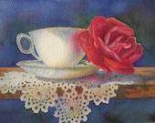 Comfort & Joy Teacup With Rose Fine Art Print
