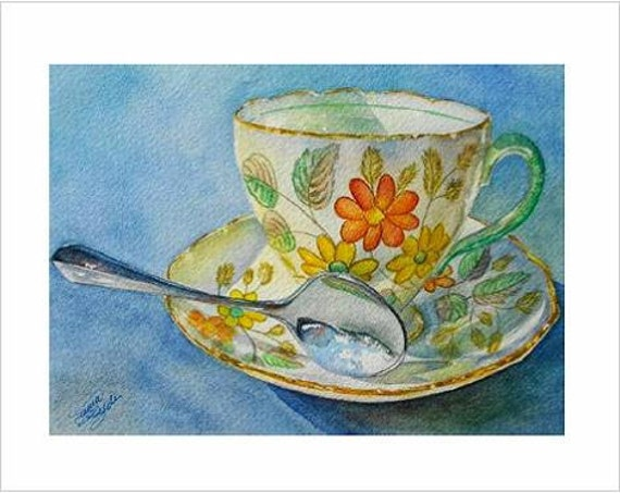 Miss Daisy Teacup Note Card, Multi Pak of 6 Blank Cards