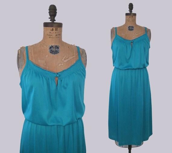 vintage 70s aqua disco dress : vintage quiet music dress