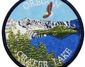 Oregon Crater Lake Eagle Iron On Travel Souvenir Applique Patch