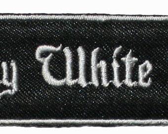 Dirty White Boy Name Tag Uniform Iron On Applique Patch