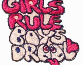 Girls Rule Boys Drool Iron On Applique Patch Lot of 2