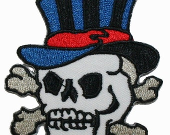 Skull Crossbones W/ Top Hat Iron On Biker Applique Patch