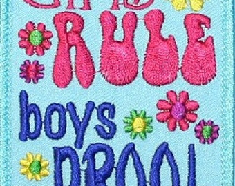 Girls Rule Boys Drool Blue Embroidered Iron On Applique Patch