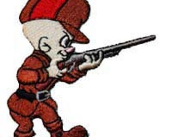 Elmer Fudd Hunting W/ Shotgun Rifle Embroidered Iron On Applique Patch