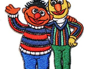 Sesame Street Bert & Ernie Embroidered Iron On Applique Patch