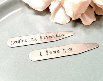 Hand Stamped Men's Collar Stays - Personalized Message - Stainless Steel - Father's Day Groomsmen Anniversary Gift for Him