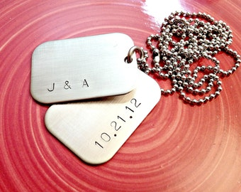 Personalized Dog Tags - Hand Stamped Mens Necklace - Custom Mens Jewelry - Mens Wedding or Anniversary Necklace - Groomsmen Gift