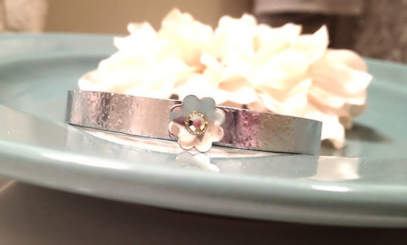 Hand Stamped Cuff Bracelet - Personalized Jewelry - Textured Secret Message Cuff with Sterling Silver Petal & Swarovski Crystal