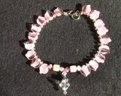 Pink Leaf Collar - 9 inches - Pink Swirl Leaves Glass Beads
