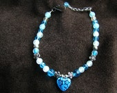SALE - Anklet or Bracelet in Bright Blue and White - silver accents - Ornate glass heart pendant - 9.5 inch - SALE