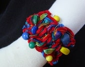 2 off SALE - Hand woven wrist cuff - wire, beads, soft ribbon - primary colors and red - 7.5 inch