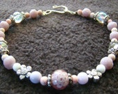 Pink Lavender Beaded Collar - 9 inch - glass, crystal, silver accents - floral spacers and focal bead -