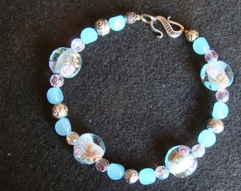 Pastel Floral Beaded Collar - 10 inches