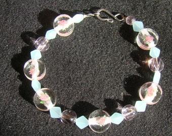 Pastel Floral Collar -  beaded medium cat or dog collar - 10 inches