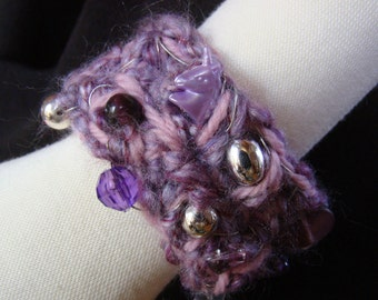 2 off SALE - Wrist cuff - Unicorn in Lavender and Plum - with beadwork and unicorn accent - 7.5 inch